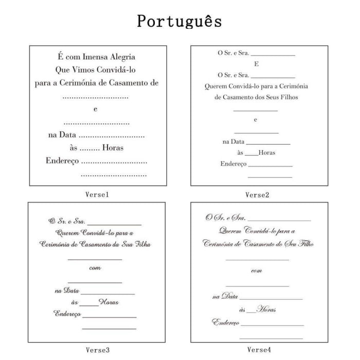 Heart Imprint Side Fold Invitation Cards (Set of 50) | Bridelily - As shown in the picture / Portuguesa / Verse1 - invitation cards