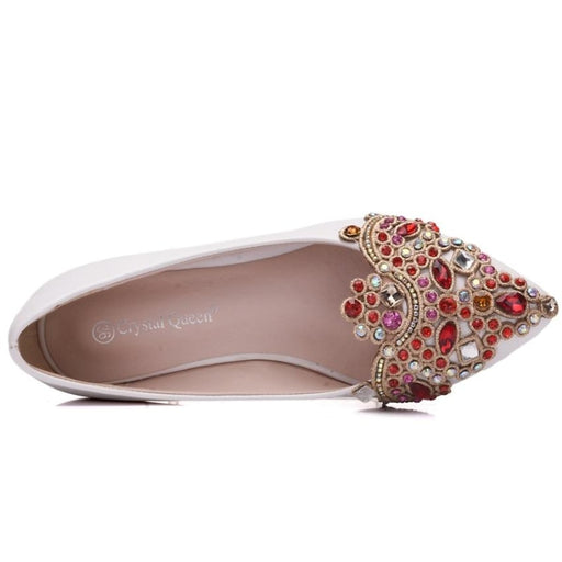 Heart Shaped Crystal Handmade Wedding Flats | Bridelily - wedding flats