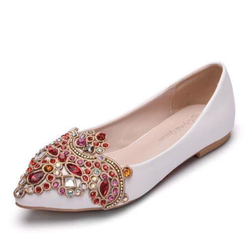 Heart Shaped Crystal Handmade Wedding Flats | Bridelily - white / 34 - wedding flats