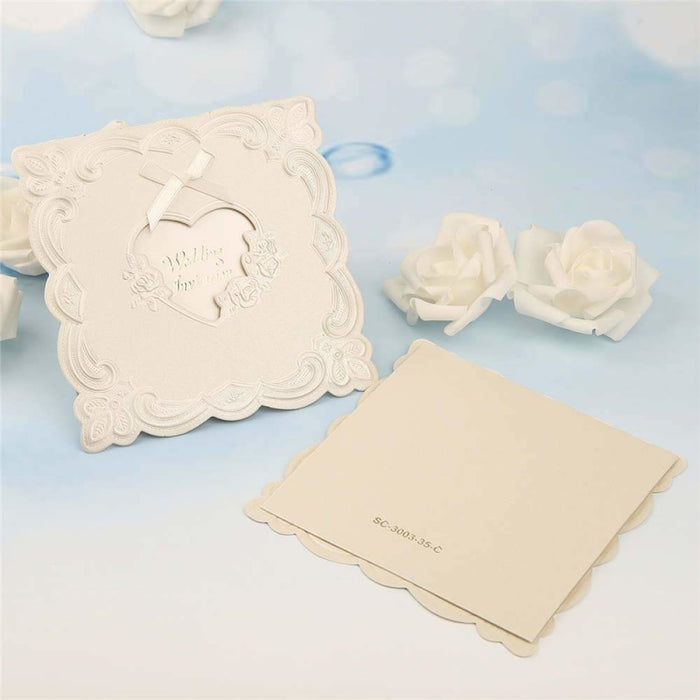 Heart Style Bowknot Tri-Fold Invitation Cards (Set of 50) | Bridelily - invitation cards
