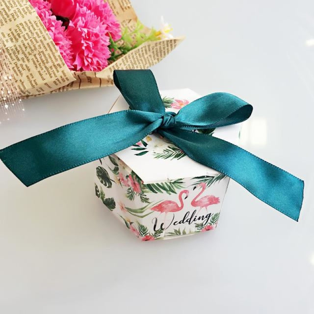 Hexagon Candy Box With Ribbon Bow Favor Holders | Bridelily - favor holders
