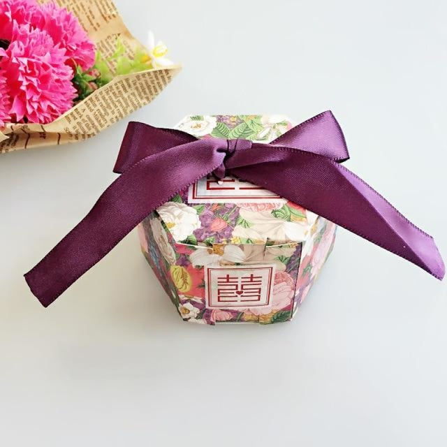 Hexagon Candy Box With Ribbon Bow Favor Holders | Bridelily - YN1-3 / 20PCS - favor holders