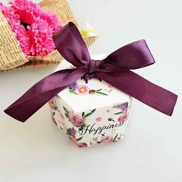 Hexagon Candy Box With Ribbon Bow Favor Holders | Bridelily - YN1-1 / 20PCS - favor holders