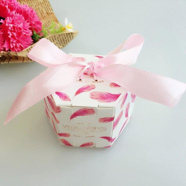 Hexagon Candy Box With Ribbon Bow Favor Holders | Bridelily - YN1-2 / 20PCS - favor holders