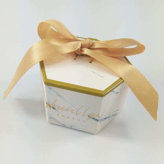 Hexagon Marbling With Bowknot Favor Holders | Bridelily - Gold / 20 PCS - favor holders
