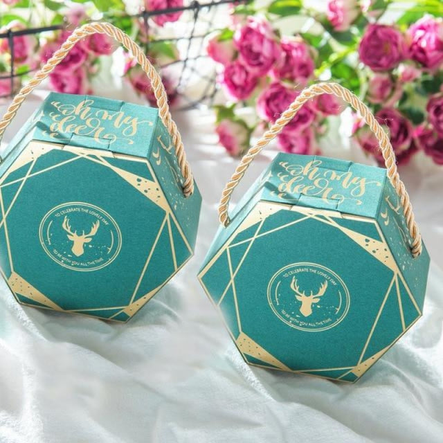 Hexagon Wedding Gifts With Handles Favor Holders | Bridelily - Blue / 50 PCS - favor holders