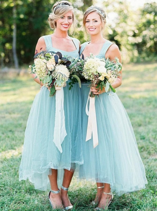 High Low Square Light Sky Blue Tulle Bridesmaid Dress - Bridesmaid Dresses