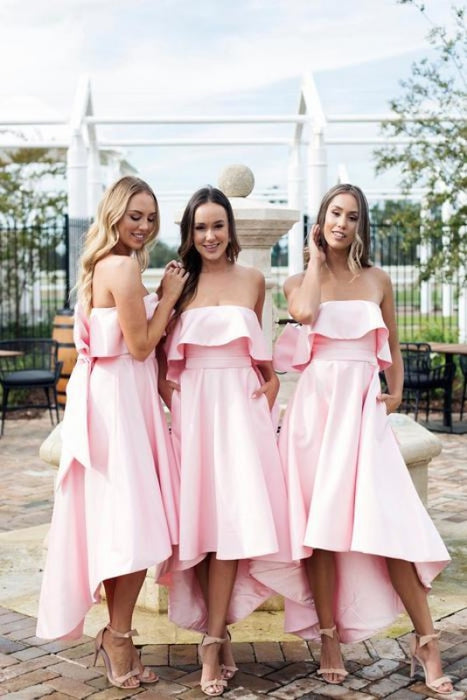 High Low Strapless Pink Short Bridesmaid Dress - Bridesmaid Dresses