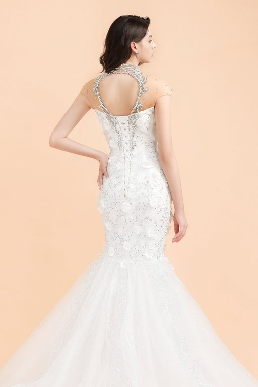 High Neck Appliques Crystal Beads Tulle Mermaid Wedding Dress - wedding dresses