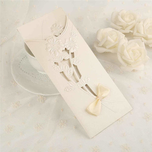 Hollow Bowknot Imprint Side Fold Invitation Cards (Set of 50) | Bridelily - As shown in the picture / English / Blank - invitation cards