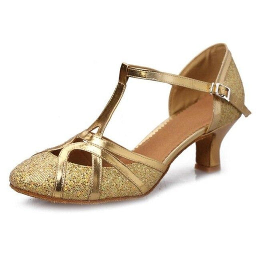 Hollow Lace-Up Sequined Ballroom Dance Shoes | Bridelily - Gold / 3.5 - ballroom dance shoes