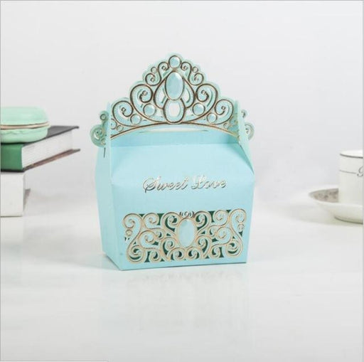 Hollow Out Box With Crown Handle Favor Holders | Bridelily - Sky blue / 50pcs / 9x5.5x7cm - favor holders