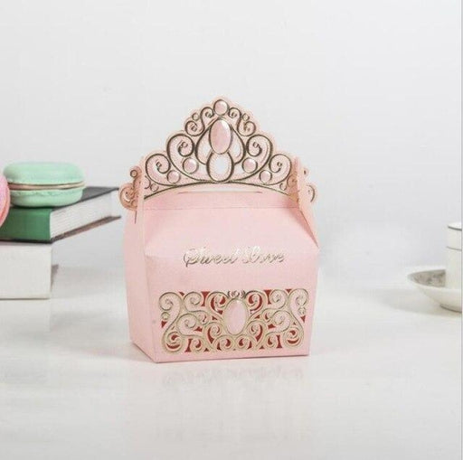Hollow Out Box With Crown Handle Favor Holders | Bridelily - Pink / 50pcs / 9x5.5x7cm - favor holders