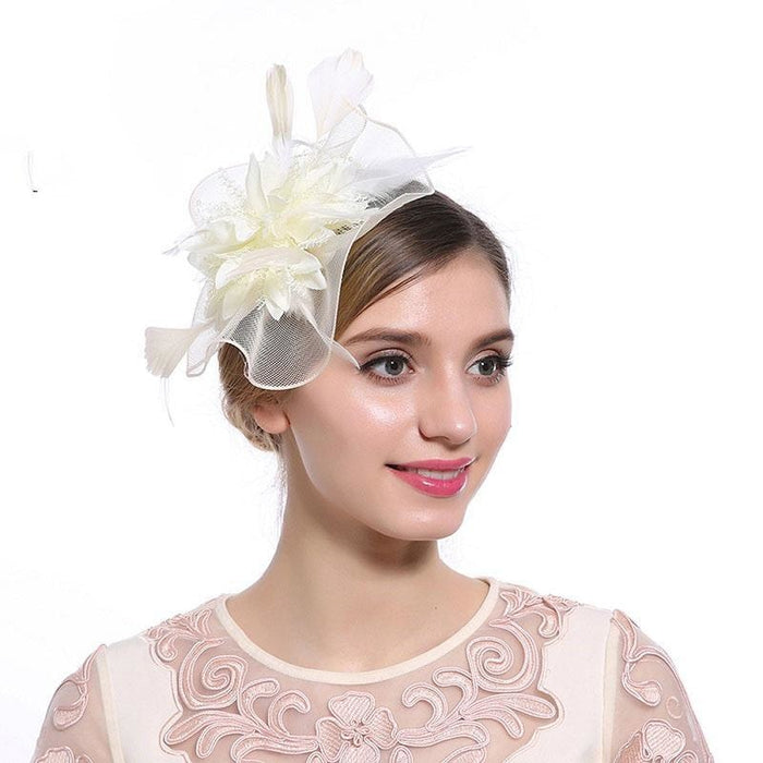 Hollow Yarn Beads Feather Floral Fascinators | Bridelily - Beige Hair Clips - fascinators