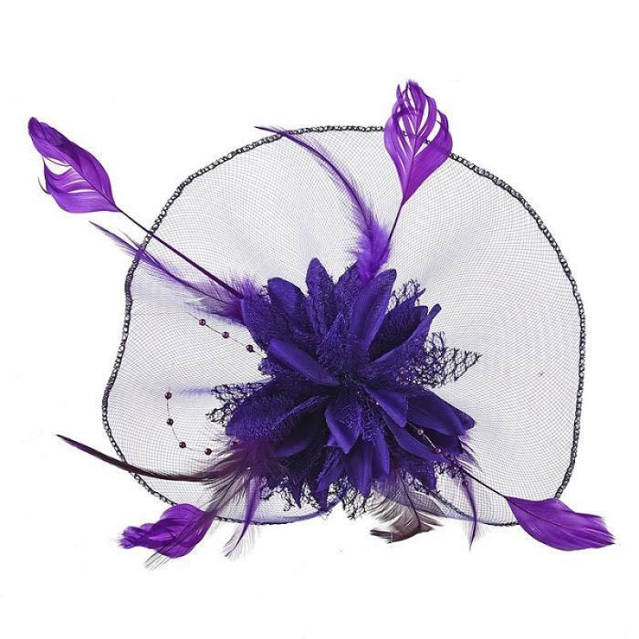 Hollow Yarn Beads Feather Floral Fascinators | Bridelily - Purple Hair Clips - fascinators