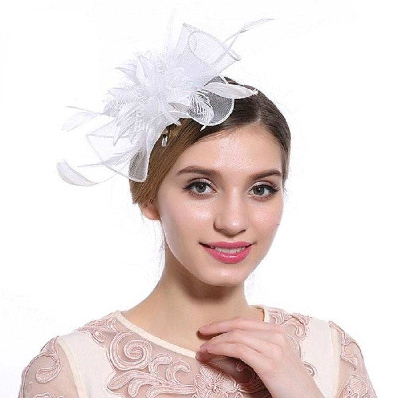 Hollow Yarn Beads Feather Floral Fascinators | Bridelily - White Hair Clips - fascinators