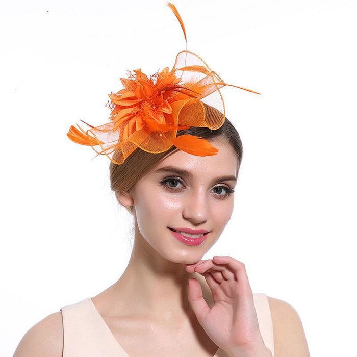 Hollow Yarn Beads Feather Floral Fascinators | Bridelily - Orange Hair Clips - fascinators