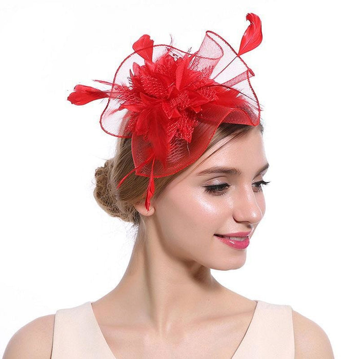 Hollow Yarn Beads Feather Floral Fascinators | Bridelily - Red Hair Clips - fascinators