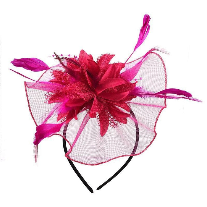 Hollow Yarn Beads Feather Floral Fascinators | Bridelily - Rose Red Hair Clips - fascinators