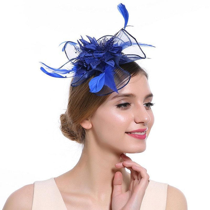 Hollow Yarn Beads Feather Floral Fascinators | Bridelily - Royal Blue Hair Clip - fascinators