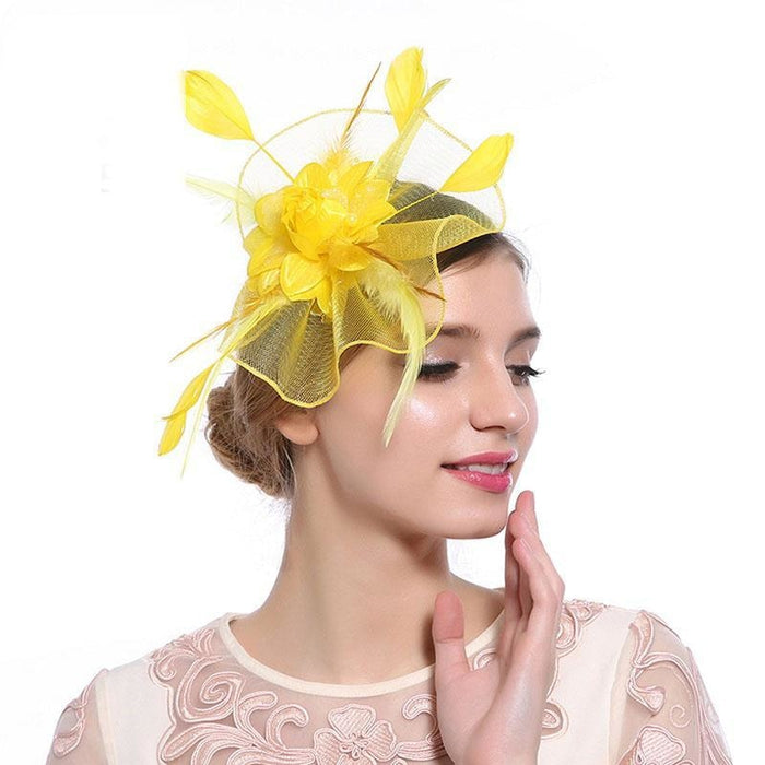 Hollow Yarn Beads Feather Floral Fascinators | Bridelily - Yellow Hair Clips - fascinators