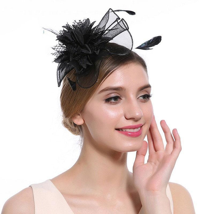 Hollow Yarn Beads Feather Floral Fascinators | Bridelily - Black Hair Clips - fascinators