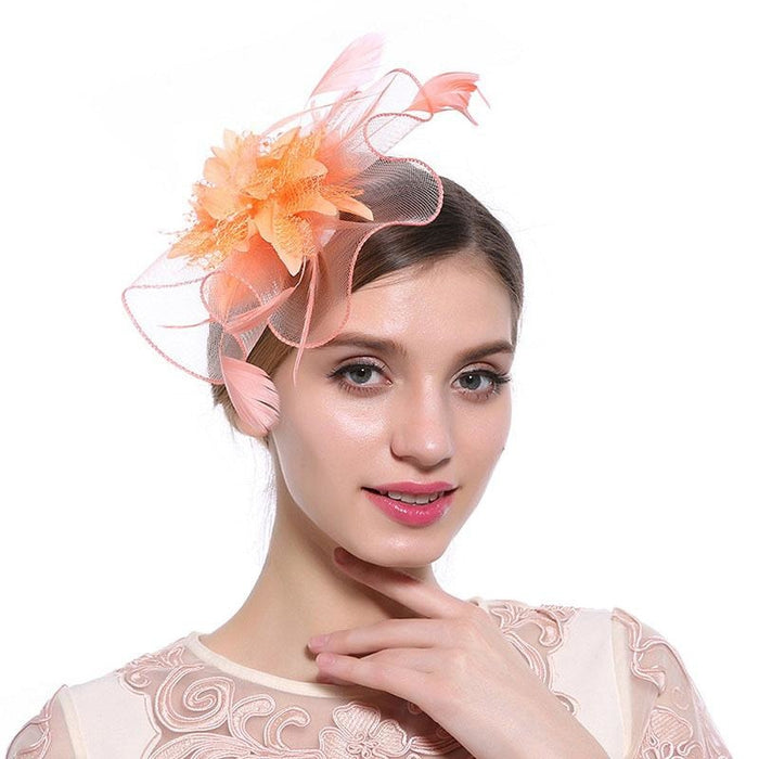 Hollow Yarn Beads Feather Floral Fascinators | Bridelily - fascinators