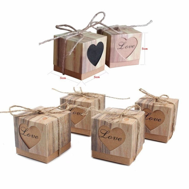 Hollowed Heart Candy With Twine Favor Holders | Bridelily - Brown / 5x5x5cm / 20 PCS - favor holders