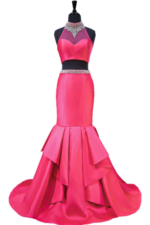 Hot Pink Backless Beaded Two Pieces Long Mermaid Evening Dress - Prom Dresses