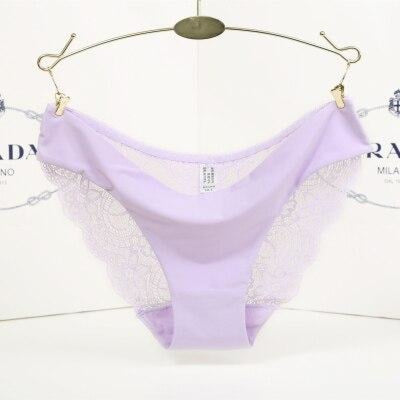 Hot sale Lace Seamless Breathable Panties | Bridelily - Lavender / L - panties