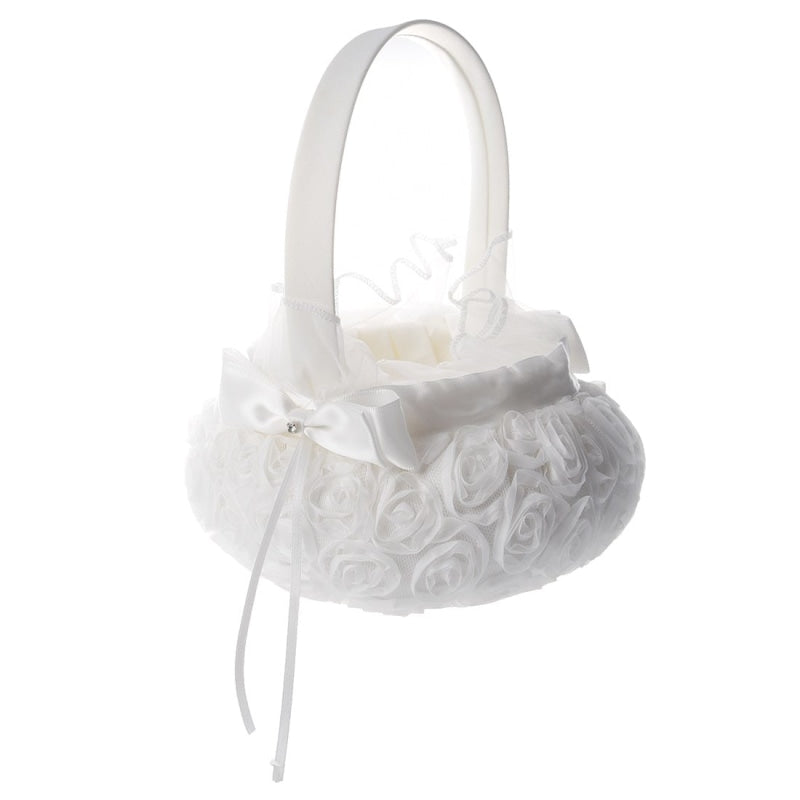 Hot Satin Wedding Girl Basket Flower Baskets | Bridelily - flower baskets