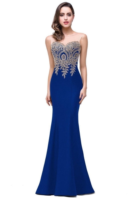 Illusion Backless Lace Mermaid Prom Dress Burgundy Long Evening Gowns - Royal Blue / US 2 - Prom Dress