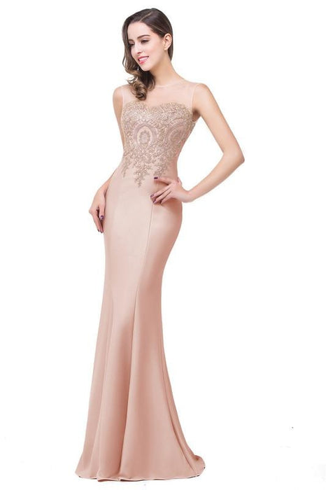 Illusion Backless Lace Mermaid Prom Dress Burgundy Long Evening Gowns - Dusty Rose / US 2 - Prom Dress