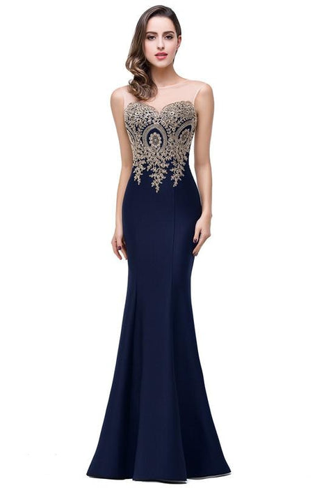 Illusion Backless Lace Mermaid Prom Dress Burgundy Long Evening Gowns - Dark Navy / US 2 - Prom Dress