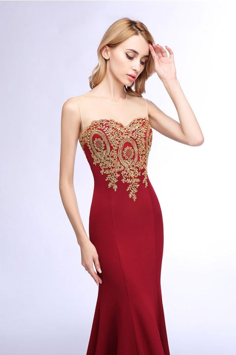 Illusion Backless Lace Mermaid Prom Dress Burgundy Long Evening Gowns - Prom Dress