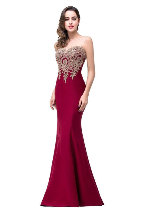 Illusion Backless Lace Mermaid Prom Dress Burgundy Long Evening Gowns - Burgundy / US 2 - Prom Dress