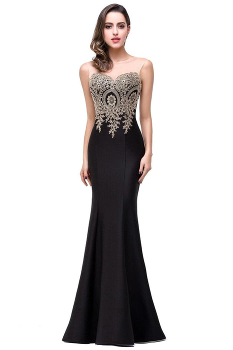Illusion Backless Lace Mermaid Prom Dress Burgundy Long Evening Gowns - Black / US 2 - Prom Dress