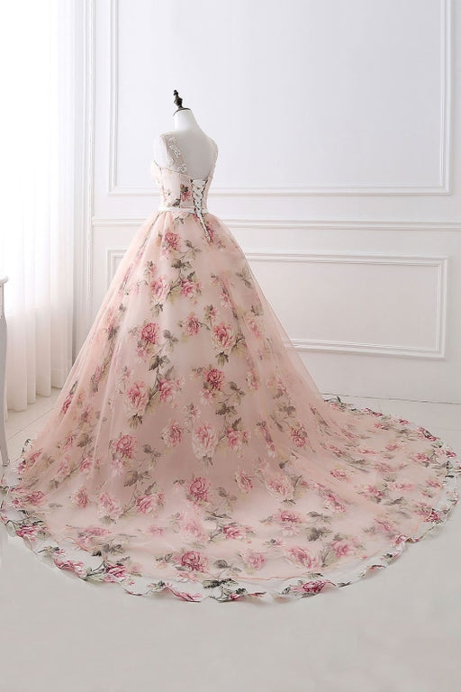 Illusion Floral Print Lace-up Ball Gown Prom Dress - Prom Dress