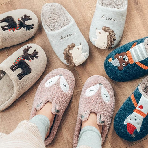 Indoor Warm Women Slippers Cute Animal Fox Unicorn Winter Fur Home Shoe Female Girl Nonslip Memory Foam Cotton House Slippers - house