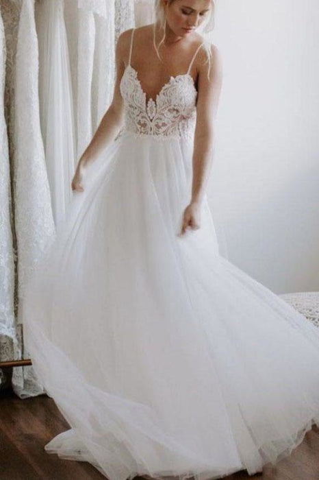 Ivory Backless Spaghetti Straps Tulle Beach Lace Applique Wedding Dress - Wedding Dresses