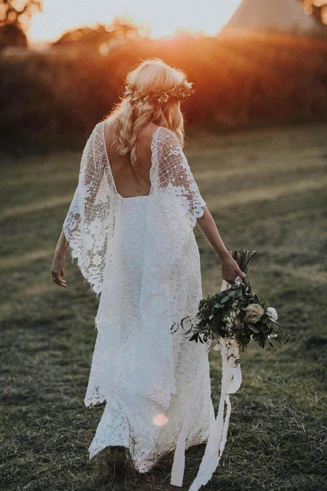 Ivory Boho with Batwing Sleeve Lace Rustic Backless Wedding Dress - Wedding Dresses