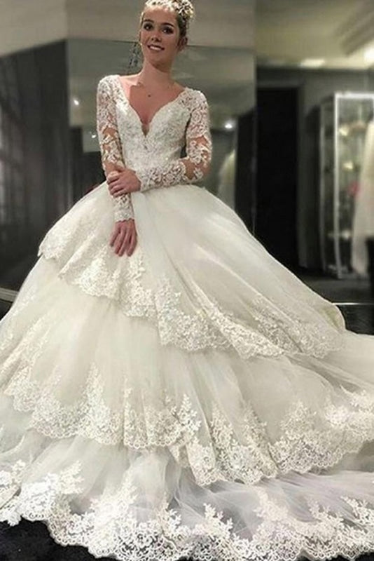 Ivory Deep V-Neck Long Sleeves Lace Appliques Chapel Train Tiered Wedding Dress - Wedding Dresses