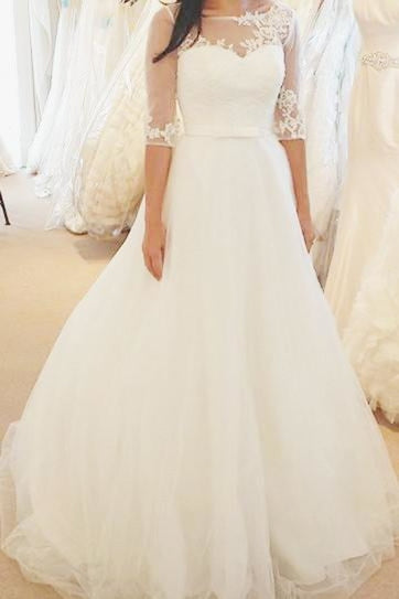 Ivory Half Sleeves Floor-length Bateau With Lace Applique Tulle Wedding Dress - Wedding Dresses