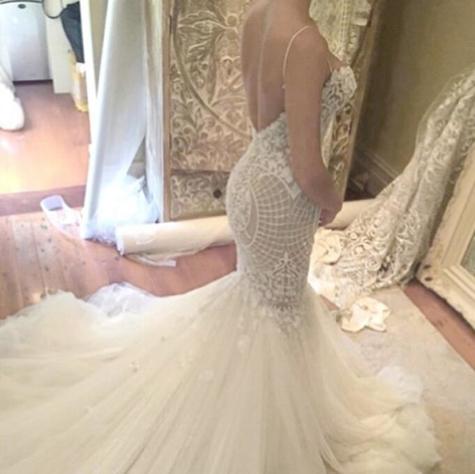 Ivory Mermaid Backless Spaghetti Straps Court Train Lace Tulle Wedding Dress - Wedding Dresses