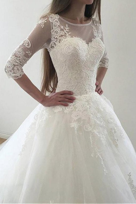 Ivory Puffy Half Sleeves Long Vintage Tulle Bateau Appliques Wedding Dress - Wedding Dresses