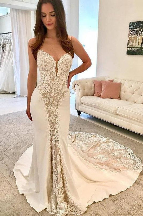 Ivory Satin Gorgeous Lace Spaghetti Strap Vintage Mermaid Wedding Dress - Wedding Dresses