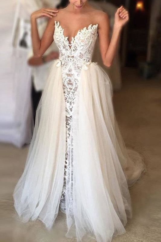 Ivory Sheer Neck Lace Gowns Tulle Vintage Special Wedding Dress - Wedding Dresses