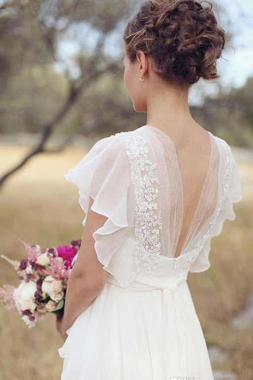 Ivory V Neck Chiffon Boho Unique Cap Sleeves Beach Wedding Dress - Wedding Dresses