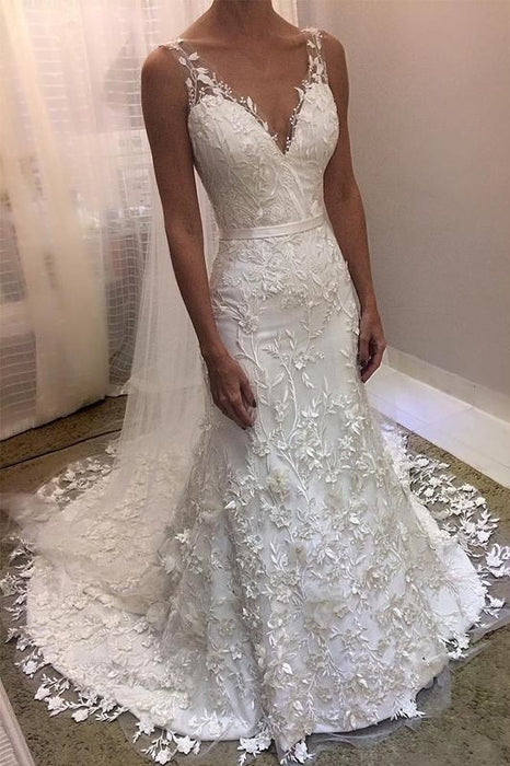 Ivory V Neck Sheath Sleeveless Backless Charming Lace Wedding Dress - Wedding Dresses