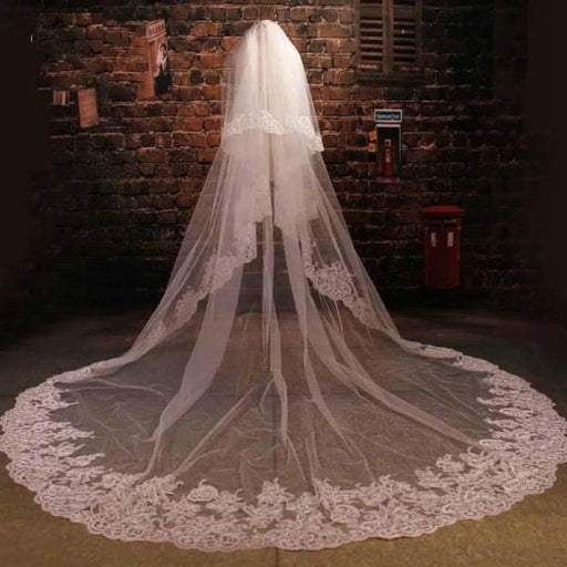 Lace Appliques Cotton 3 Meter Wedding Veils | Bridelily - wedding veils